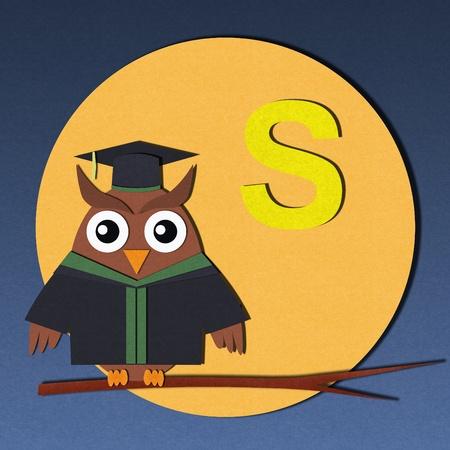 The alphabet  S  and graduates owl, paper cut design  photo