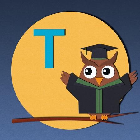 The alphabet  T  and graduates owl, paper cut design  photo