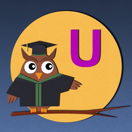 wise owl: The alphabet  U  and graduates owl, paper cut design  Stock Photo