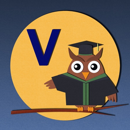 The alphabet  V  and graduates owl, paper cut design  photo