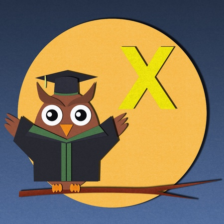 The alphabet  X  and graduates owl, paper cut design Stock Photo - 12878477