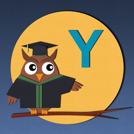 The alphabet  Y  and graduates owl, paper cut design  photo