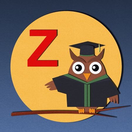 The alphabet  Z  and graduates owl, paper cut design  photo