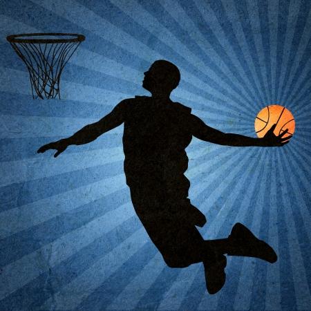 Basketball player silhouette  Vintage design Stock Photo - 14027121