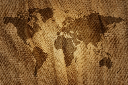 old rustic map: Old world map on a sack