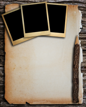Old paper and old photo frame for write and put image  photo