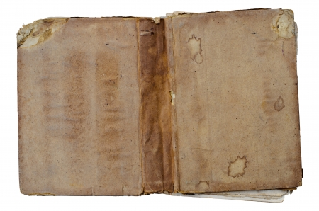 Old open book on white background  Stock Photo - 14492760