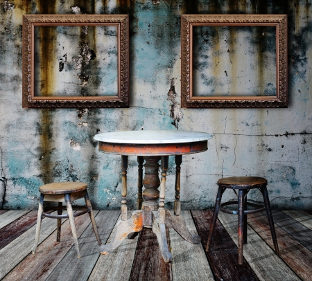 Picture frame and furniture in grunge room Stock Photo - 14686856