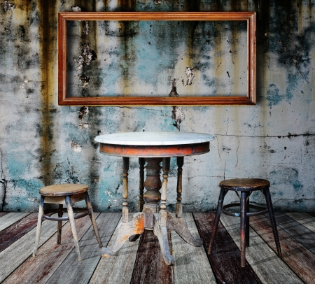 Picture frame and furniture in grunge room  Stock Photo - 14686862