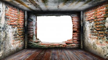 abandoned room: Interior grunge room four side walls