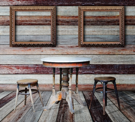 Picture frame and furniture in grunge room Stock Photo - 14686933