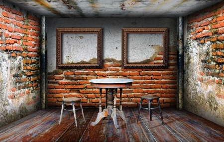 Inter grunge room four side walls  Stock Photo - 14783830