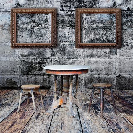Picture frame and furniture in grunge room Stock Photo - 14783924