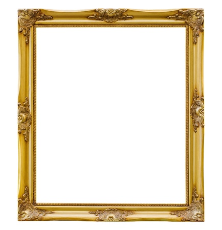 gold frame: Old picture frame on white background