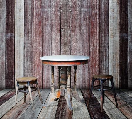 Furniture in vintage wood room  Stock Photo