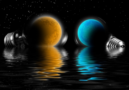 Planet in the lamp reflected in water  photo