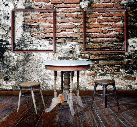 Picture frame and furniture in grunge room  photo