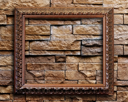 Old picture frame on grunge wall Stock Photo - 15007146