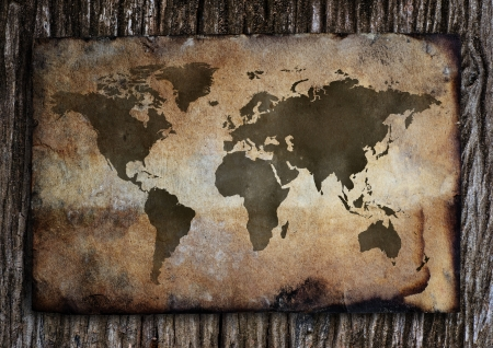 Old world map put on the old wood  photo