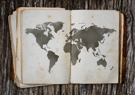 burnt wood: Old world map put on the old wood