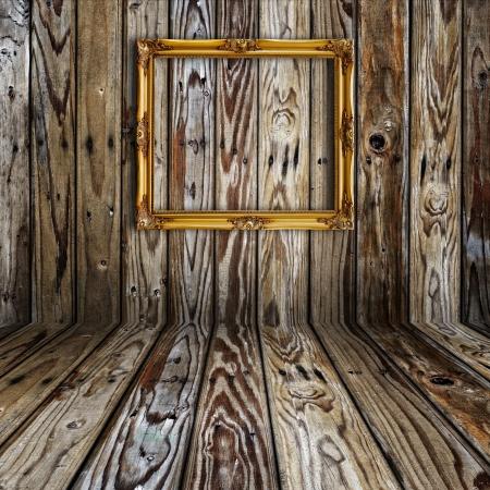 furniture concept: Picture frame in vintage wood room