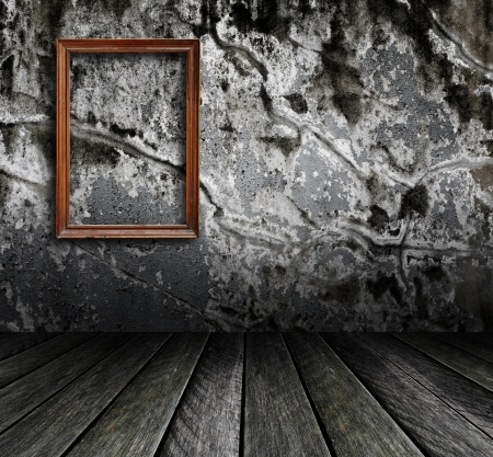 wall paper texture: Picture frame put on wall in grunge room  Stock Photo