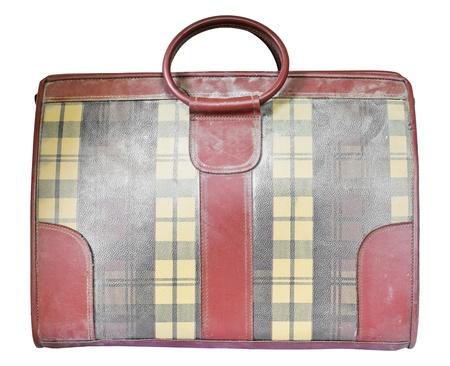 antique suitcase: Old suitcase on white background  Stock Photo