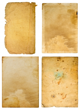 burnt paper: Old paper on white background , Four plates  Stock Photo