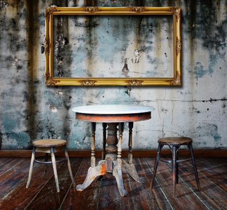 rustic background: Picture frame and furniture in grunge room
