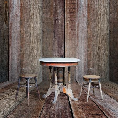 Old furniture in vintage wood room