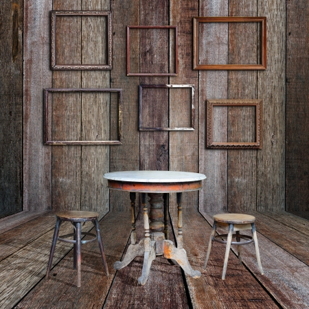 Picture frame and furniture in vintage wood room Stock Photo - 16357376