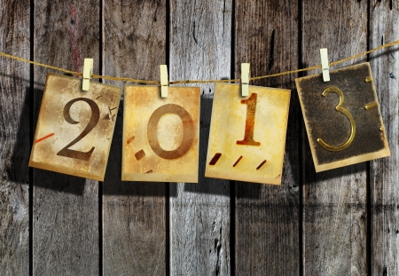 New year 2013 and christmas 2013 vintage style Stock Photo - 16462557