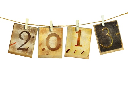 New year 2013 and christmas 2013 vintage style  Stock Photo