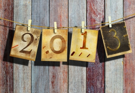 New year 2013 and christmas 2013 vintage style Stock Photo - 16462558