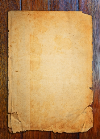 old fashioned sepia: Old paper on wood table  Stock Photo