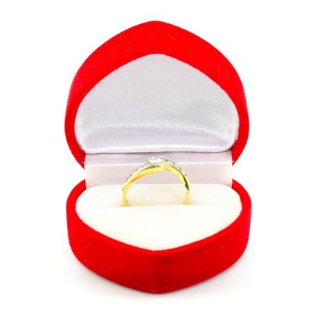 wedding accessories: Wedding ring in red velvet box.