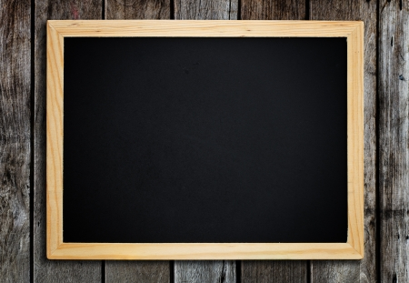 Blackboard on vintage wood wall.