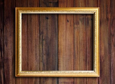 Old picture frame on vintage wood wall. Stock Photo - 18251808