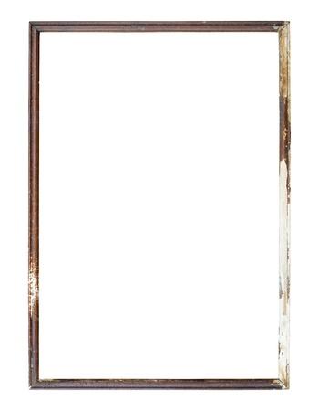 marco madera: Antiguo marco de la imagen en el fondo blanco.