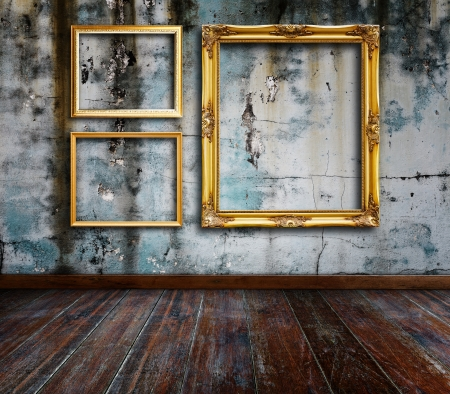 vintage living room: Picture frame put on wall in grunge room  Stock Photo