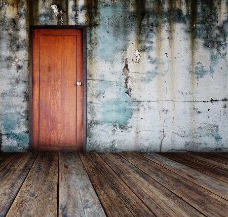 room door: Door in grunge room.