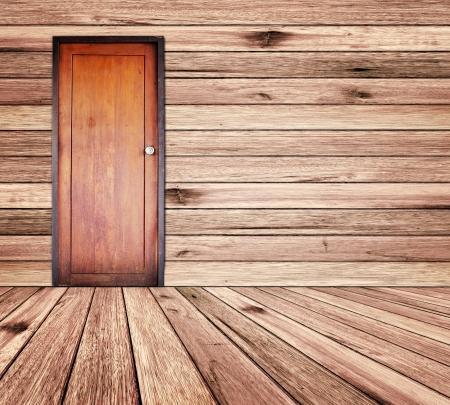 room door: Door in wood room. Stock Photo