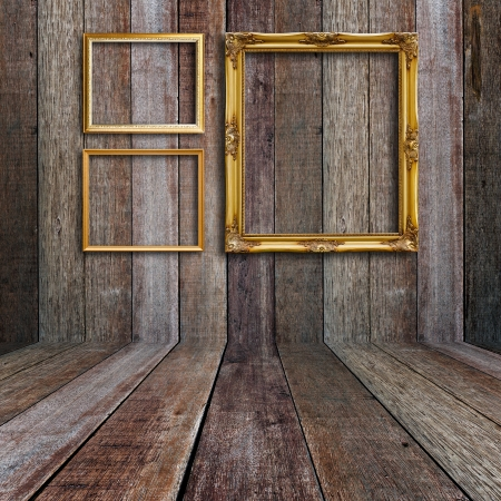 Picture frame in vintage wood room. photo