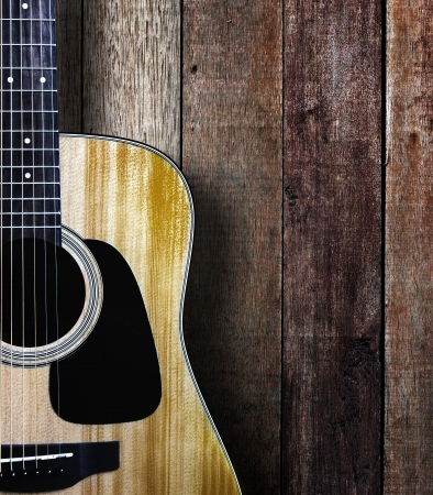 Guitar on wood background  photo