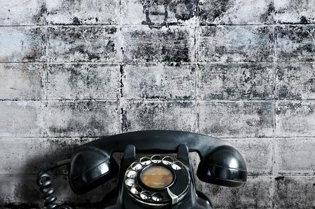 waiting phone call: Old telephone.