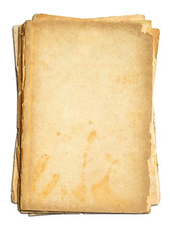 papel quemado: Papel viejo sobre fondo blanco. Foto de archivo