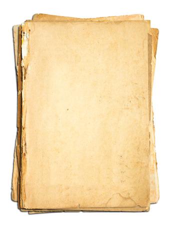 papel de notas: Papel viejo sobre fondo blanco. Foto de archivo