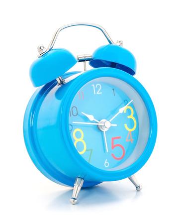 ten empty: Alarm clock on white background. Stock Photo