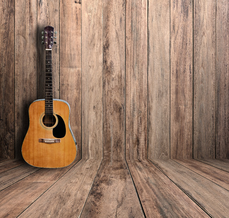 Guitar in old room. photo