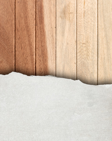 scratch card: Part cement on wood wall., Grunge background. Stock Photo